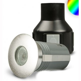 LED RGB Bodeneinbaustrahler 3W 24V, Edelstahl gebürstet, optional glänzend