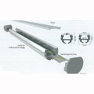 Mikalux Alu- Rundprofil Paris, IP65, für einfache  LED-Streifen, 19x16mm , pro m