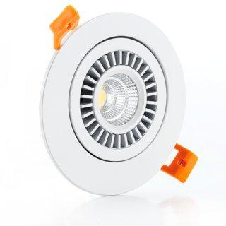 Downlight Spot 7W, superflach 30mm, COB, schwenkbar 90°, Abstrahlwinkel 45-60°, dimmbar, weiß/weiß