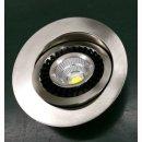 Downlight Spot 7W, superflach 34mm, COB, schwenkbar 90°, Abstrahlwinkel 45°-60°, dimmbar, nickel gebürstet, IP44