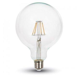 LED Glühfaden Birne Globe E27 7W 2700K 125mm, 810lm klar dim