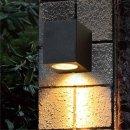 LED- Wandlampe Logan eckig, GU10, IP44 schwarz 1495ZW