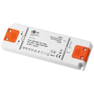 Gleichstrom-LED-Trafo 12V/DC / 24V 0-20W  TÜV CE MM flach