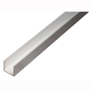 Mikalux Alu U-Profil -tief/glatt/quadratisch- für Stripes 20x20mm