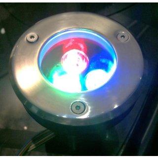 Bodeneinbauspot  3x1W, RGB, 12V, D:100mm,H:135mm, IP65