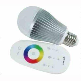 LED Kugelbirne   9W RGBW LED mit RF-Farbradfernbedienung