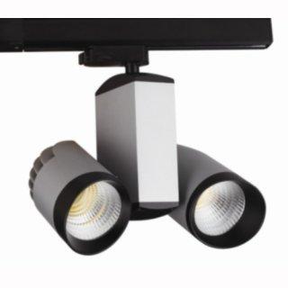 Stromschienenstrahler 40W COB LED 2x20W, 38°, silber, CRI>82, 3-Phasen Adapter