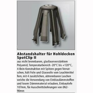 Abstandhalter für Einbauringe in Hohldecken  Spot Clip 2, DA=62-90mm, ET=107mm