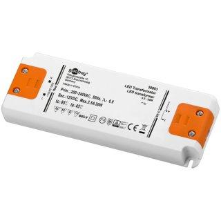 Gleichstrom-LED-Trafo 24V/DC, 0-30W, flach