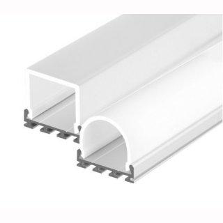 Mikalux GIP- Profil  breit f. doppel LED-Streifen, 26,2x7,5mm eloxiert, Abdeckung rund oder eckig