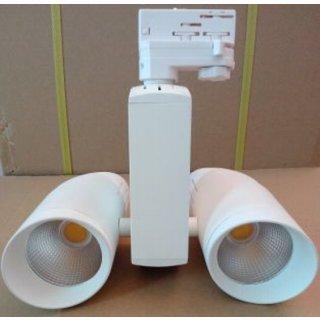 Stromschienenstrahler 40W COB LED 2x20W, 38°, weiß, CRI>82, 3-Phasen Adapter