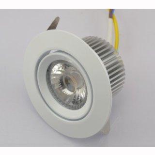Downlight LED 6W COB, 38° Treiberlos, 230V, dimmbar, CRI>82, blendfrei, 2800 / 3000K, silber / weiß