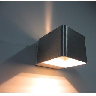 Wandaufbaulampe UP-Down LED 6W, kubisch, 2x4W Cree, Alu, 0-120°, 230V