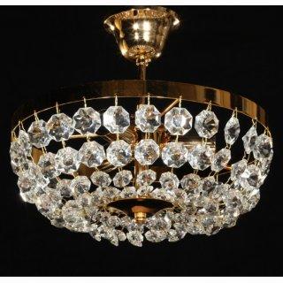 Deckenleuchte Kristall, rund, gold Krissti - D30cm