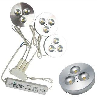 Downlight Aufbau LED 3x3W Set Cabinett 120° ww, Alu natur poliert, d=69mm