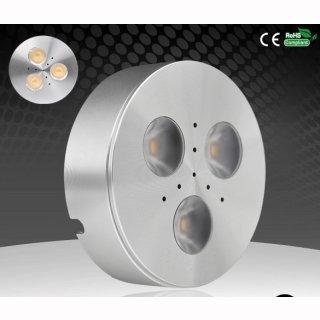 Anbauspot LED 3x1W Cree, 30-120°,  Alu poliert, 12V DC, D69mm, H20mm