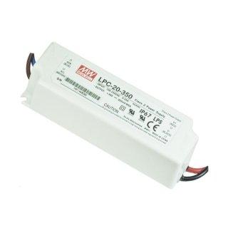 MeanWell LED Trafo LPC 20, 16,8W IP67 DC 350mA konstanter Strom - nur in Serienschaltung!