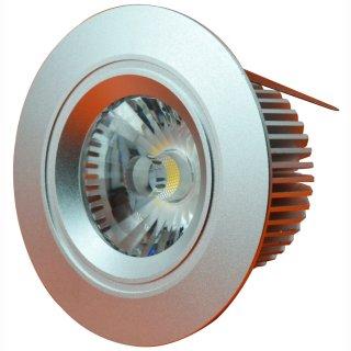 Downlight LED 7W COB, 380lm, IP44, 38° Treiberlos 230V, dimmbar, CRI>82, blendfrei, 2800 / 3000K, silber / weiß