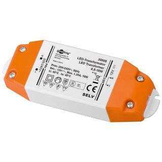 Gleichstromtrafo 12V/DC 0-15W IP20  weiss/orange  30005
