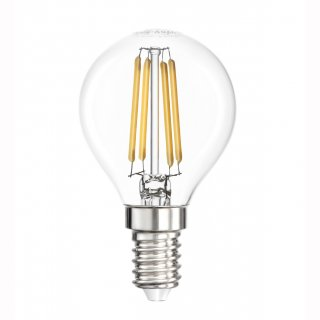 LED Fadenbirne,  E14, Filament, 3,5W, klar, 400lm, 360°, 2700K, Tropfen